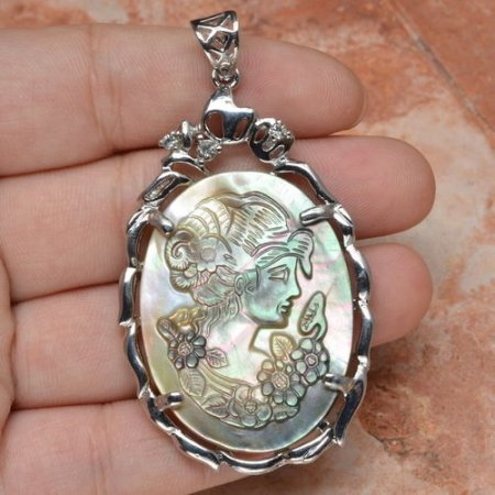 """Female Cameo Crystal Carved Shell Pendant 2 3/8"""" .925 Sterling Silver"""