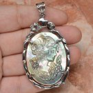 "Female Cameo Crystal Carved Shell Pendant 2 3/8"" .925 Sterling Silver"