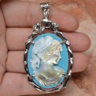 "Blue Cameo Crystal Carved Shell Pendant 2 1/2"" .925 Sterling Silver"