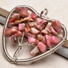 Pendant Natural Rhodonite Gemstone .925 Sterling Silver