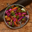 Pendant Natural Multi Color Gemstones .925 Sterling Silver