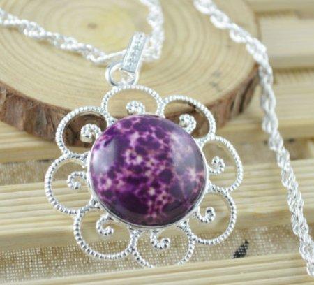 Necklace Fancy Unakite Gemstone .925 Sterling Silver