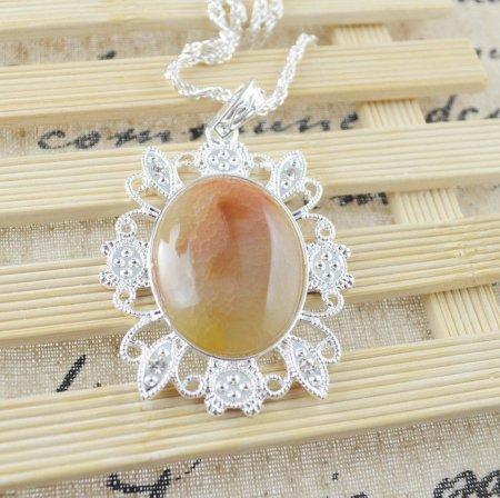 Necklace Orange Botswana Agate Gemstone .925 Sterling Silver