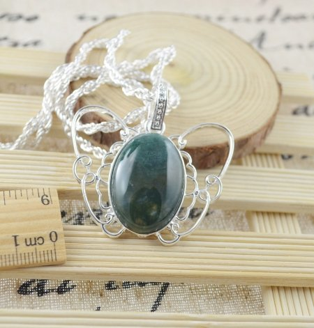 Necklace Botswana Green Agate Gemstone .925 Sterling Silver