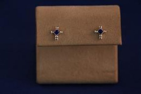 Earrings - Choice Of Gem Stone - Cross .925 Studs