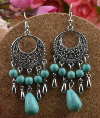"Earrings Dangle Turquoise - .925 Sterling Silver Long 3"""