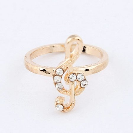 Music Note Ring - 9k Gold Filled Austrian Crystals