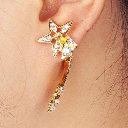 Ear Cuff / Earring - 9k Gold Filled Clear Austrian Crystals Stars