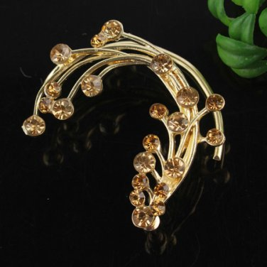 Ear Cuff - Flower 9k Gold Filled Clear - Champagne Crystals