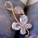 Pendant -14K Gold Filled - Crystals- 4 Leaf Clover