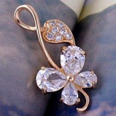 Pendant -14K Gold Filled - Crystals- 4 Leaf Clover