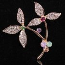 Brooch Pin - Clover Colorful Austrian Crystals - Gold Filled
