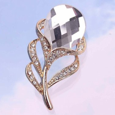 Brooch Pin - Clear Oval Austrian Crystal - 14k Gold Filled