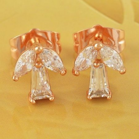 Stud Earrings - Angles - 9k Gold Filled Clear Crystal