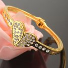 9k. Gold Filled Crystal Bracelet - Single Heart