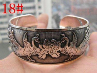 German Silver Bracelet. Design: Peacock Family #18