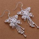 """Butterfly Dangle Earrings - .925 Sterling Silver Long 2"""""""