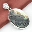 "Carved Turtle Cameo Crystal Shell Pendant 2 1/2"" .925 Sterling Silver"