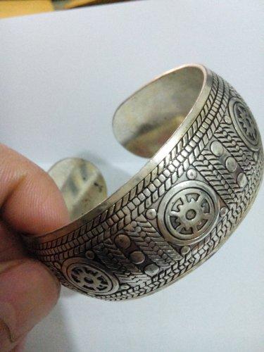 German Silver Bracelet. Design: Ships Wheel #35
