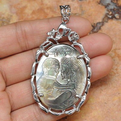 "Mother & Baby Cameo Crystal Shell Pendant 2 1/2"" .925 Sterling Silver"