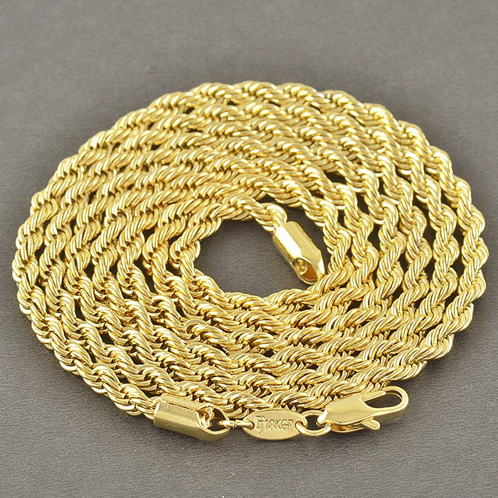 """31.5"""" 9K Yellow Gold Filled Rope Chain Necklace Unisex"""