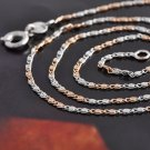 "17"" Flat Box Chain / Necklace .925 Silver/9K Rose Gold Filled"