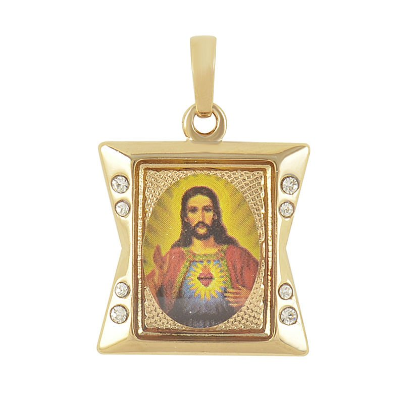 9K Solid Gold Filled Cubic Zircon God Jesus Cross Pendant
