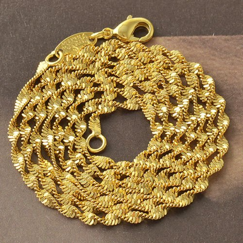 "24"" 9K Yellow Gold Filled Double Water Wave Necklace"