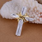 Trendy .925 Sterling & 9K Gold Filled Cross Pendant