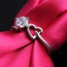 9K White Gold Filled White Sapphire Ring 3 Prongs