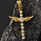 9K Gold Filled Clear CZ Cross Jesus Angel Wings Pendant