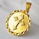 9K Yellow Gold Filled Round Cross Pendant