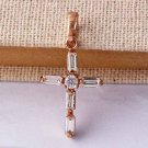 Clear CZ Rose 9k Gold Filled Women's Cross Pendant