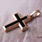 Classic Black Enamel Rose 9k Gold-Filled Cross Pendant