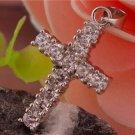 925 Sterling Silver Modern Cross Gemstone Women's Pendant