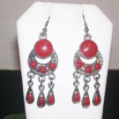 Dangle Red Earrings - .925 Sterling Silver Long 2""