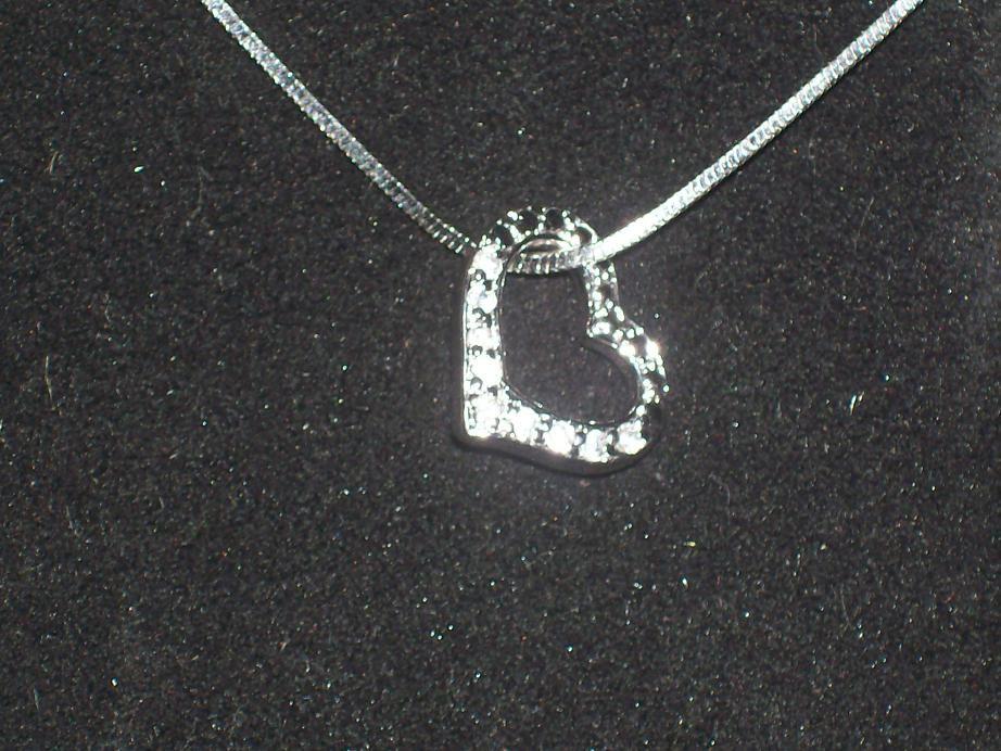 Genuine Diamond .925 Sterling Silver Heart Pendant & Necklace