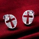 Cross-Earrings 925 Sterling Silver Swarovski Crystals
