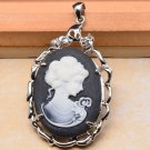 Carved Princess Cameo Pendant Black .925 Sterling Silver