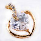 Clear CZ Rose 9K Gold Filled Women's Heart Pendant