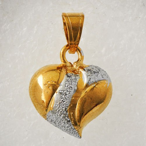 9k Yellow Gold Filled & Sterling Silver Heart Pendant