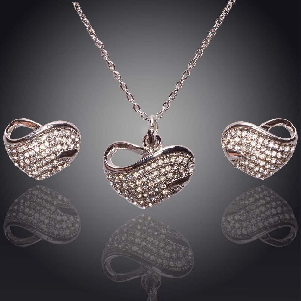 9K White Gold Filled Clear Crystal Heart Necklace & Earring Set