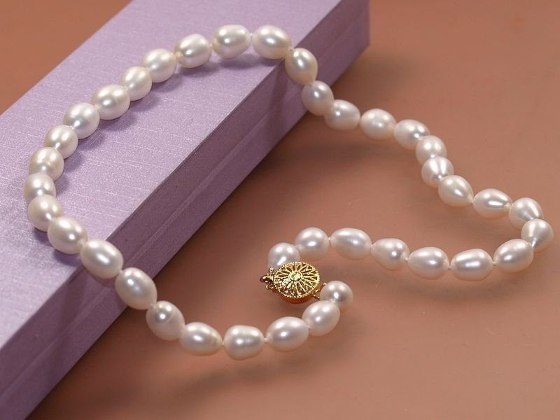 AA Genuine 6.-7mm White Cultured Pearl Akoya Necklace 18""
