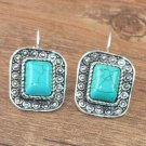 Natural Turquoise SilverSquare Earrings