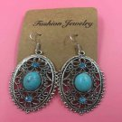 Natural Turquoise & Austrian Crystals Oval Silver Earrings