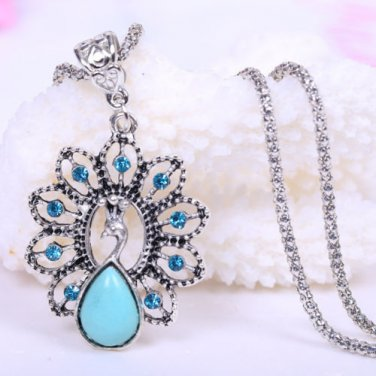 Peacock Crystal Flower Turquoise Necklace W/ Chain