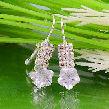 .925 Sterling Silver Unique & Delightful  Clear Topaz Crystal Earrings