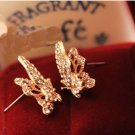 Clear Crystals Cute 9k Gold Filled Butterfly Earrings