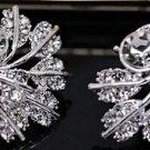 Beautiful Sterling Silver Leaf Stud CZ  Earrings - Super Sparkle