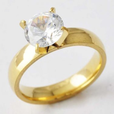 Very Popular 14k Gold Filled CZ Crystal Engagement Ring